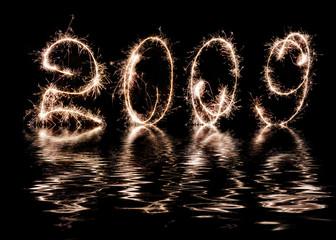 Inscription - 2009 made by celebratory fireworks