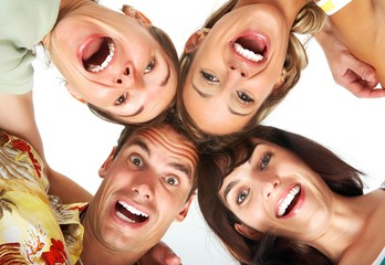 Young happy  people. Isolated over white background  .