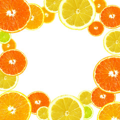 A slices of fresh orange, lemon and lime background