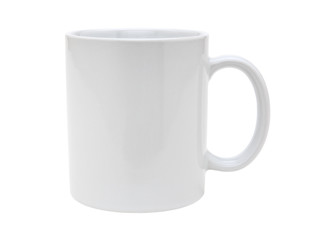 White mug emty blank for coffee or tea isolated on white