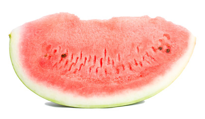 close-up slice of watermelon, isolated on white