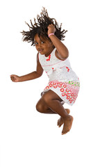 Adorable african girl jumping a over white background