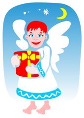 Cartoon angel on a blue background. Christmas illustration.