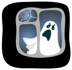 Cartoon phantom in a dark window . Halloween illustration.
