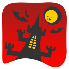 Black castle on a red background. Halloween illustration.