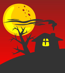 Rural house on a red background. Halloween illustration.