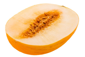 ripe aromatic melon taken pictures on white background