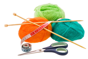 Multi-coloured woolen a thread for knitting
