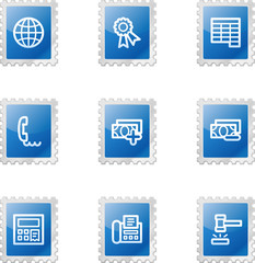 Finance 2 web icons, blue glossy stamp series