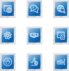 Internet communication web icons, blue glossy stamp series