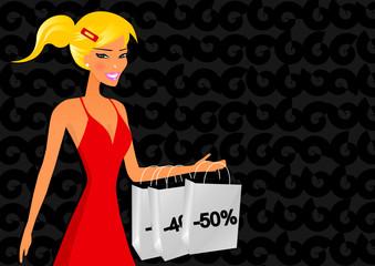 Beautiful blonde woman in shopping time