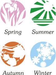 Abstract vector illustrations of seasons