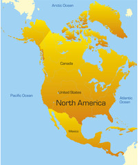 Abstract map of north america continent