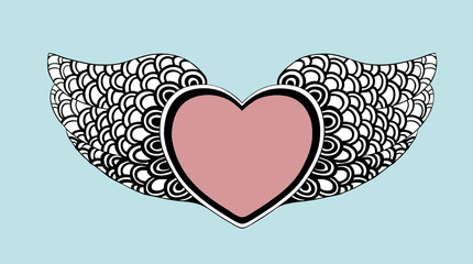 fancy heart with wings