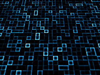 Computer abstraction generation on blue background