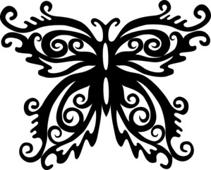 Black and white decorated butterfly