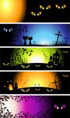 Halloween night, set of banners