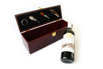 red wine in a gift box