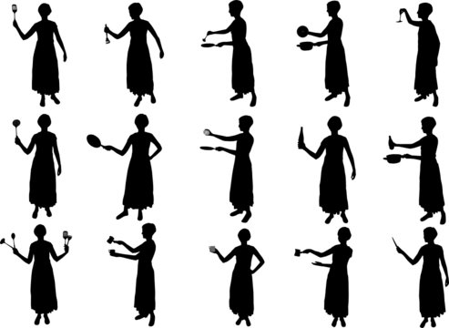 cooking girl silhouettes