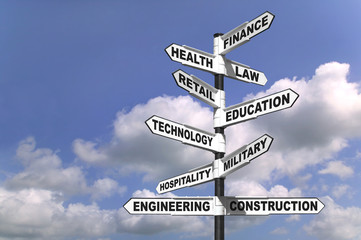 Signpost showing the way to ten different career paths