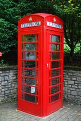 Old british red telephone box