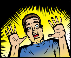 Papiers peints Comics Scared man in old comic book style.
