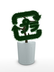 3d image, bonsai tree conceptual , recycle sign (Japan version)