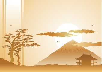 japanese landscape with mountain