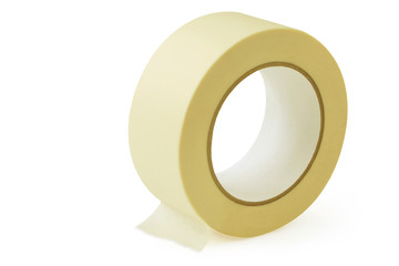 Large roll of masking or duct tape, isolated on white.
