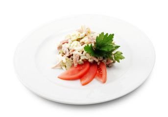 Salad Comprises Smoked Chicken and Celery
