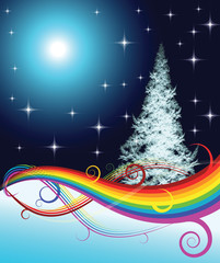 Vector - Fractal Christmas tree with rainbow on night background