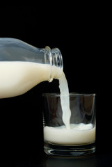 Pouring milk into a glass ready for consumption.