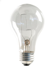 Clear Light Bulb on white