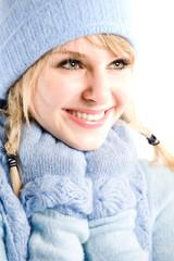 A headshot of a beautiful caucasian winter girl