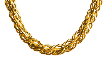 Wall Mural - Golden chain isolated on the white background