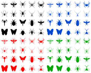 Color illustration of the bugs silhouettes on white