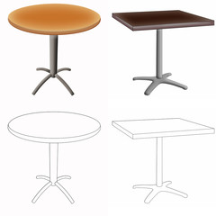 Color illustration of the pair of tables on white