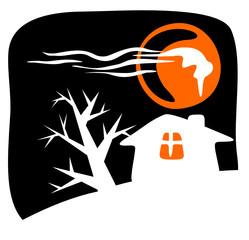 Rural house silhouette. Halloween illustration.
