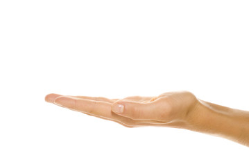 Empty female hand isolated on white