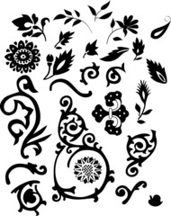 silhouette of floral ornament elements