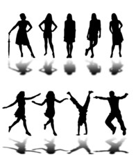 People Silhouette Collection Isolated On White