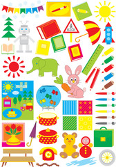 Simple objects for kindergarten and copy-book