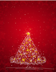 christmas tree  on the red background