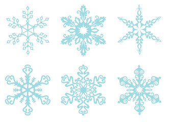 Six cold snowflakes