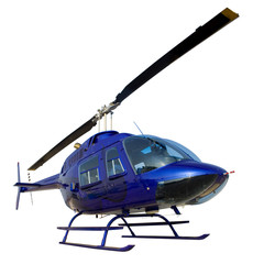 Small blue helicopter isolated on a white background