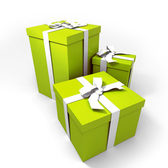 three Big green gift boxes with a white ribbons