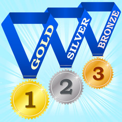 Medals on blue ribbons