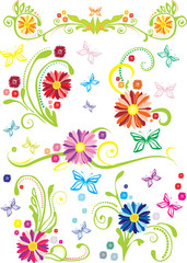 Ornamental floral elements