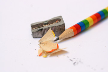 coloured pencil and sharpener with shavings