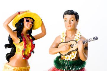 Hawaiian Hula Dancer and male performer